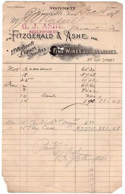 G J Ashe & Fitzgerald Liquor Dealers Wines Knoxville Tn Tennessee Receipt 1898 S