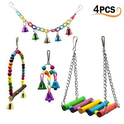 4Pcs Parrot Hanging Swing Bird Toy Harness Cage Toys Parakeet Cockatiel Budgie