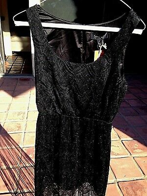 Black FRINGE DRESS Halloween Costume 1920s  Flapper Gatsby: size 2 woman adult