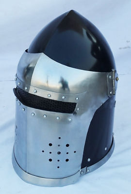 Medieval Barbute Helme Armour Helmet Roman knight helmets with Inner with stand