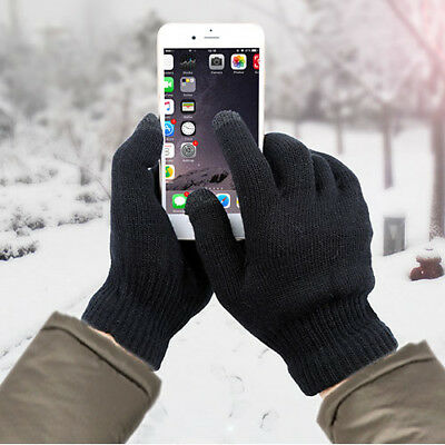 Men Women Touch Screen Gloves Winter Warm Fleece Lined Kint Smartphone Gloves