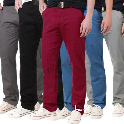 Men's Casual Cargo Chino Pencil Straight Leg Business Formal Work Trousers Slack