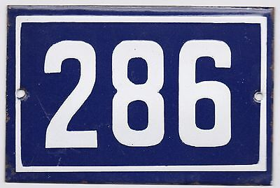 Old blue French house number 286 door gate plate plaque enamel steel metal sign
