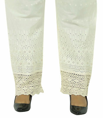 Vintage Embroidered Beige Pure Cotton Elastic Waist Straight Harem Pant-HRM2400A