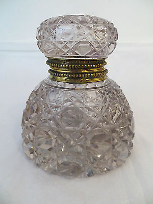 Antique Crystal Cut Glass Inkwell Encrier Gilt Ring Large Size  c 1850s Stunning
