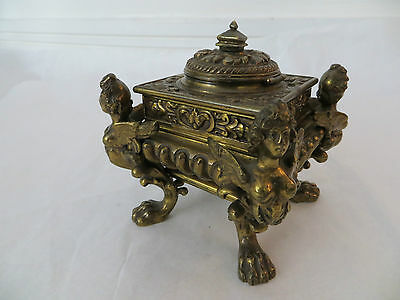 Antique Bronze Inkwell Encrier with Winged Goddesses and Clawed Feet c1850s