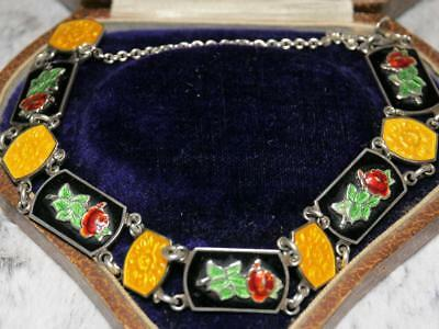 EXCEPTIONAL Antique ART DECO Solid SILVER Basse-taille ENAMEL Chinese? Bracelet