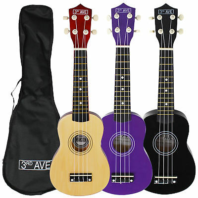 3rd Avenue Beginner Soprano Ukulele with Free Bag - Natural, Black or Purple