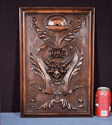 *Antique French Panel in Solid Walnut Wood with Bacchus or Devil Highly Carved