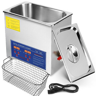 6L 40 KHz DIGITAL Ultrasonic Cleaner Heater Timer Jewelry Metal Parts Glasses UK