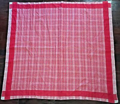 Vintage Tagged SIMTEX Cotton Red/White Plaid Shabby Cottage Chic Tablecloth