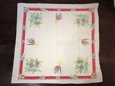 Vintage Mid Century Linen Printed Tablecloth Muted Pastel Vegetables Red Border