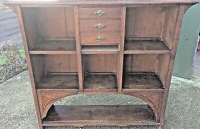 Antique arts & crafts oak open shelf pigeon hole library bookcase with drawers