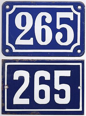 Old blue French house number 265 door gate wall fence street sign plate plaque
