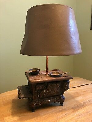 RARE Antique Stern Ind West Miniature Cast Iron Cook Stove Lamp skillets RUSTIC