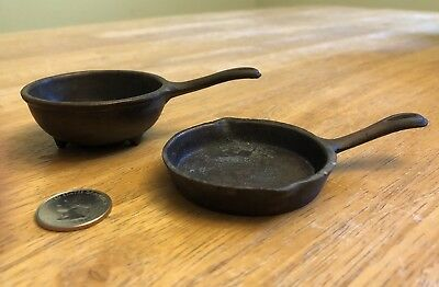 Lot of 2 Vintage Stern's Lamps Miniature Cast Iron Skillet & Spider Pan Doll Toy