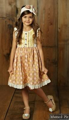NWT Girl Mustard Pie Sweet Pea Dylan Dress Yellow Pink Multi Girls sz 7