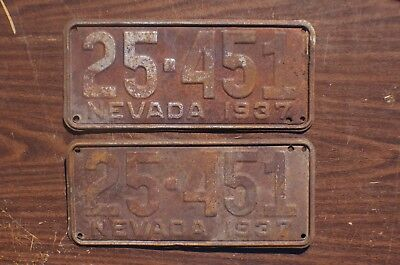 1937 Nevada Passenger License Plate PAIR / SET