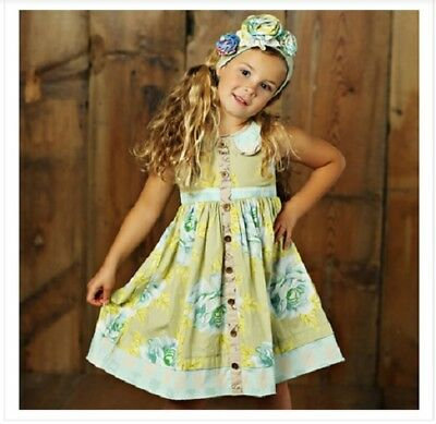 NWT Girl Mustard Pie Apple Blossom Greta Dress  Multi Floral Girls sz 7