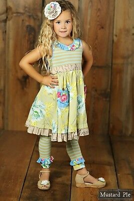 NWT Girl Mustard Pie Apple Blossom Cozette Dress Blue Stripe Floral Multi sz 4