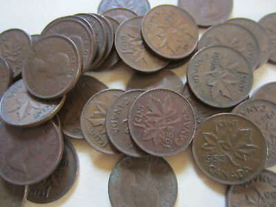 Roll of 1953 SF (RARE) Canada Small Cents (50 Coins)