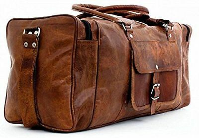 "New 24"" Genuine Leather Duffle Bag, Men Overnight Carry-On Travel Luggage Gym"