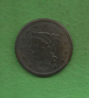 1840 Braided Hair, Large Cent, Large Date - 179 Years Old!!!