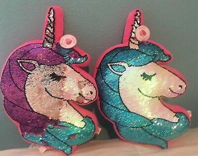 "18"" NWT Justice girls UNICORN Blue/Purple Flip Sequin Pillow Birthday gift Room"