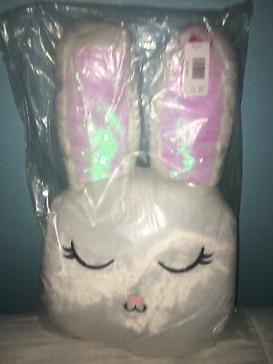 "JUMBO NWT Justice girls 25"" Snow Bunny Flip Sequin Pillow New with Tags EASTER"