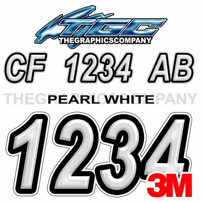 Pearl White Custom Boat Registration Numbers Decals Vinyl Lettering Stickers