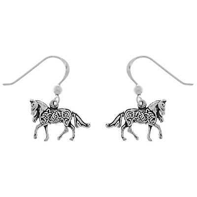 Sterling Silver Small Celtic Knotwork Horse-shaped Dangle Earrings