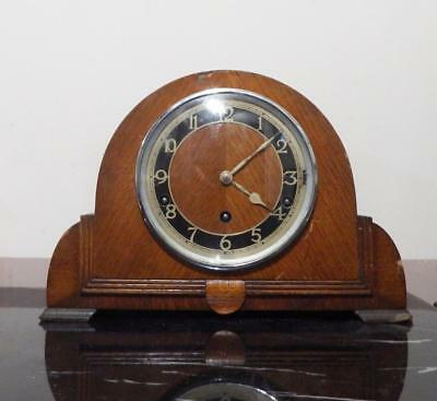 Antique 1930's Garrard wind up Westminster mantel clock in oak casing