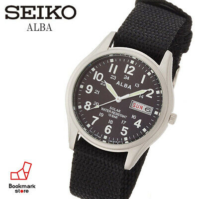 "New"" ALBA Military Solar Watch AEFD557 & Box Water Resist / Daydate F/S from JP"