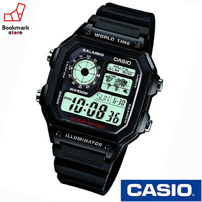 NEW CASIO STANDARD DIGITAL AE-1200WH-1A World map for World Time / LED light