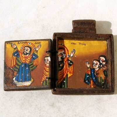 Ethiopian Coptic Christian Orthodox Wood Icon Diptych Painted Handmade Religious