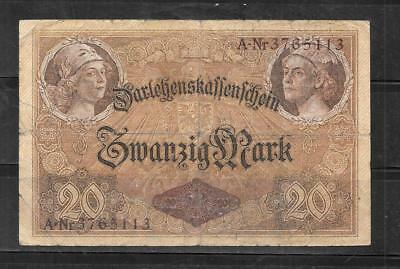 GERMANY GERMAN #48b 1914 20 MARK VG USED  OLD ANTIQUE BANKNOTE PAPER MONEY