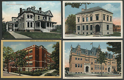 Middletown NY: Four c.1907-30s Postcards HIGH SCHOOL, LIBRARY, HOSPITAL, JR HIGH