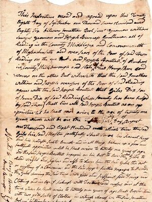 1786, Reading, Mass; Apprentice contract, 7 year old boy, cordwainer, signed
