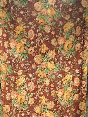 Vintage 40s Brown Cottage Shabby Rose Floral Linen Curtain Fabric 42x54