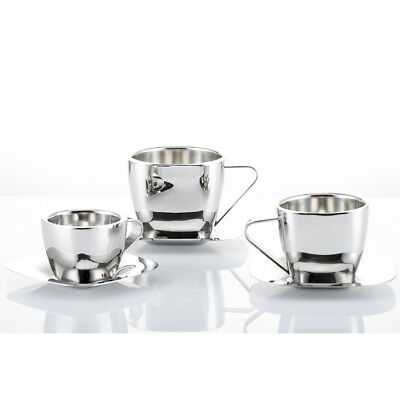 Double Layer Stainless Steel Coffee Mug Tea Cup and Saucer Set Cappuccino