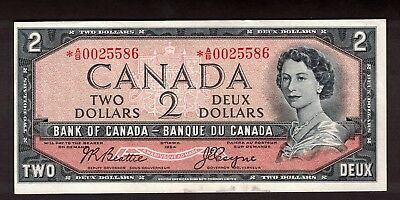 Canada 1954 $2 Beattie Coyne Replacement Note Serial *A/B0025586 Unc