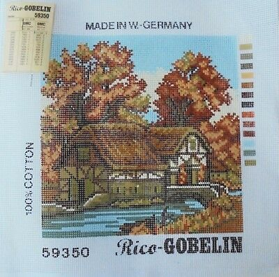 Rico Gobelin Needlepoint Canvas Herbst Fall Scene 8.25x8.25 W. Germany