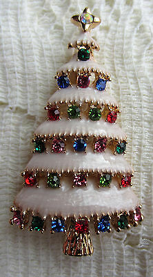 CHRISTMAS TREE AUSTRIAN multi colors CRYSTAL GOLD PLATE BROOCH PIN