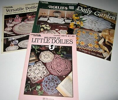 Lot of 4 Vintage Leisure Arts CROCHET DOILY Leaflets CIRCLES Garden Floral SETS