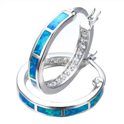 Women 925 Sterling Silver Blue Fire Opal Circle CZ Hoop Earrings Wedding Jewelry