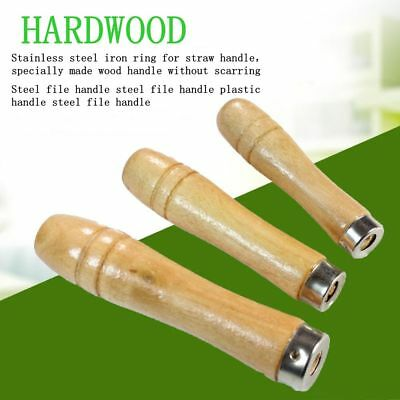 5Pcs Wooden File Handle Fit Home Tool Stainless Steel Ring Hardwood DIY Gifts