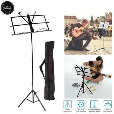 Adjustable Folding Music Stand Black w/ Carrying Bag Black Durable
