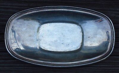 NATIONAL Brand SILVER on COPPER GRAVY BOAT DISH PLATE TRAY Vintage Etched #1006