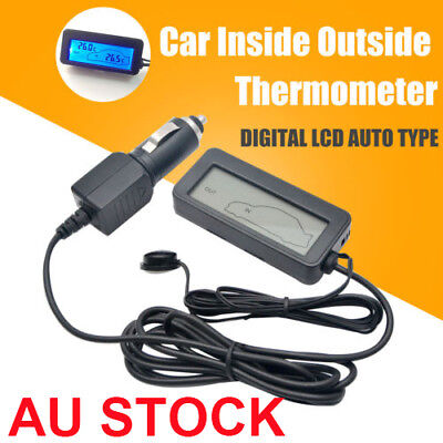 AU 12V Digital Car LCD Display Thermometer Inside Outside In/Out Temperature