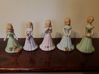 1981 Growing Up Girls Birthday Figurines 7-11 yrs. Excellent Cond.